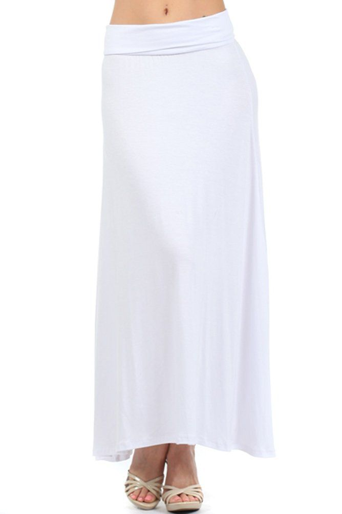 a7a5eee64 Pastel by Vivienne Women's Solid Jersey Maxi Skirt Large White ...