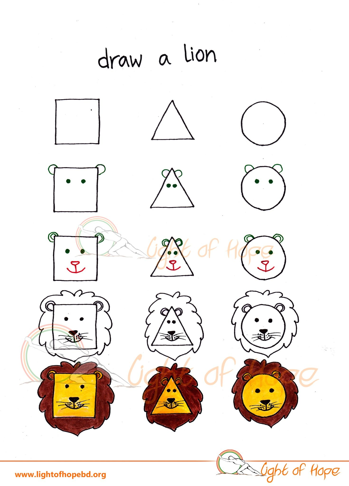 Pin By Light Of Hope On Drawing Animals From Basic Shapes