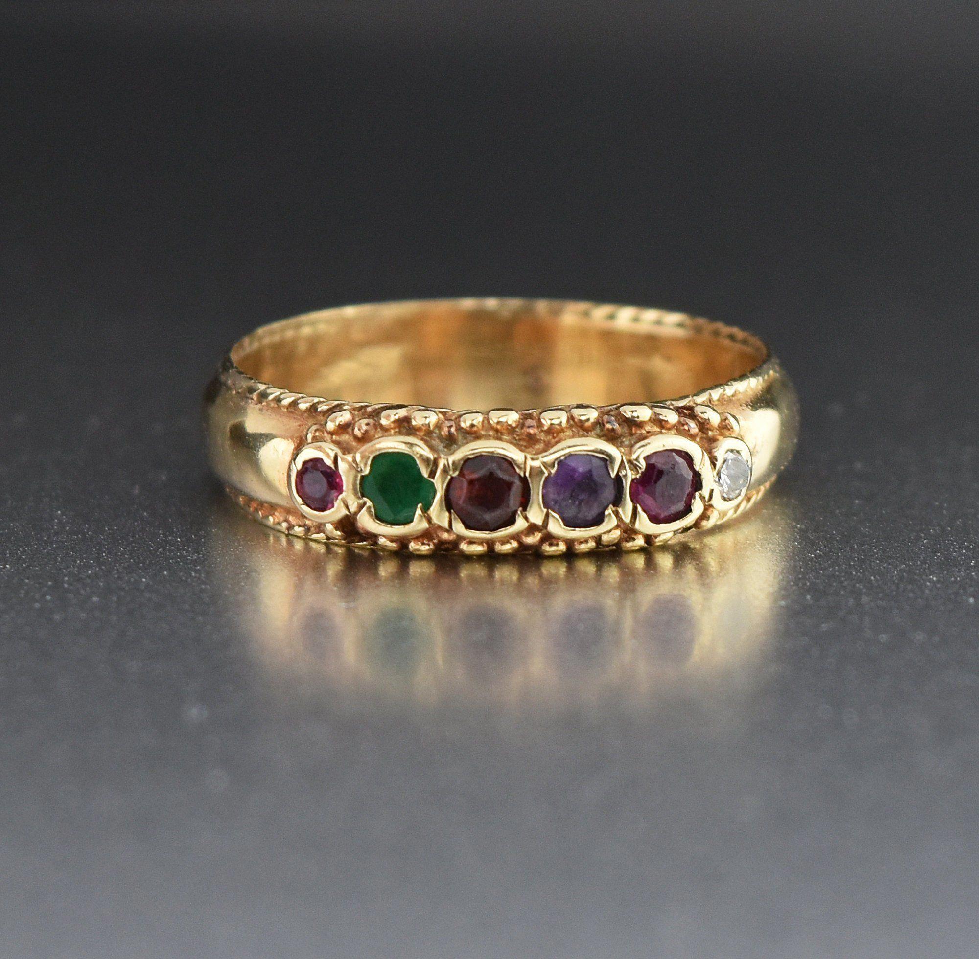 Gold REGARD Gemstone Ring Band Acrostic Wide Gold REGARD Gemstone Ring Band Acrostic