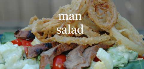 Man Salad Recipe with steak and wing sauce   Steak recipes ...