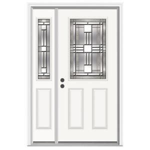 Jeld Wen Cordova Half Lite Primed Steel Entry Door With 14 In Sidelites 748915 At The Home Depot With Images Steel Entry Doors Front Door Jeld Wen