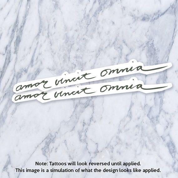 Amor Vincit Omnia Latin Calligraphy Cursive Fake Temporary Latin
