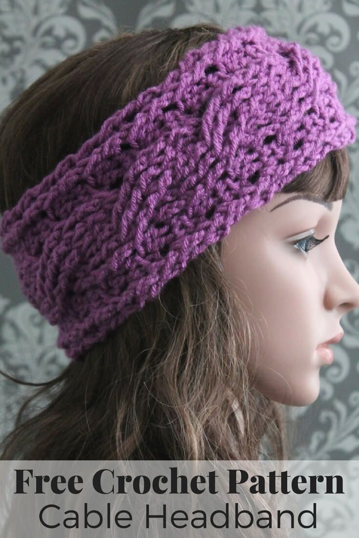 Free Crochet Pattern - This elegant cable headband crochet pattern is quick  and easy to make and a perfect fall accessory! 35d0cee8b0e