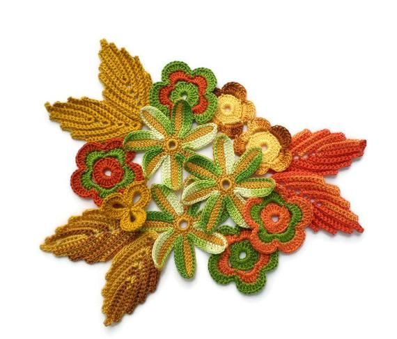 Crochet flower leaf shamrock motifs Green bronze yellow flower applique Irish crochet Irish lace decor Scrapbook elements Clothes hat decor #irishcrochetflowers