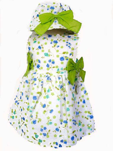 c86c58ead Vestido niña verano con estampado de flores pistacho y gorro a juego - Vestidos  para Bebé y Niña hasta los 4 Años - Mundo Kiriko  Modainfantil