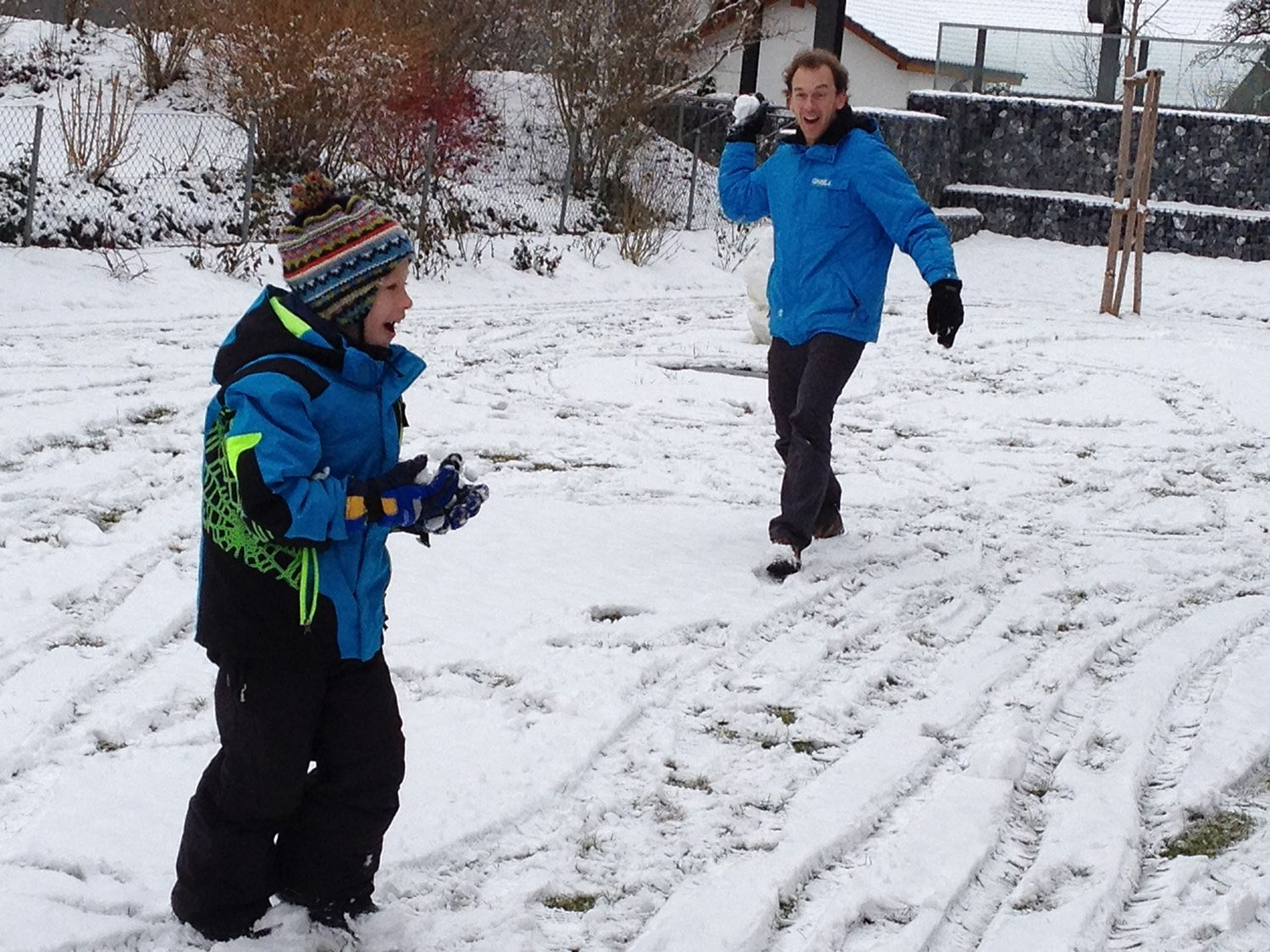 #TBT A great snow ball fight with my son from last winter.