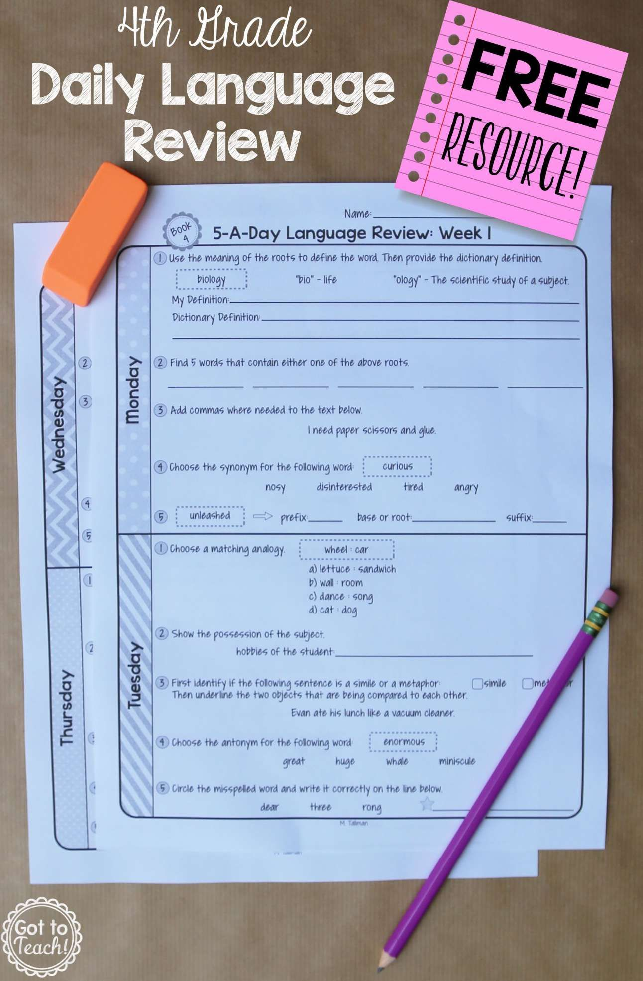 10 4th Grade Daily Language Review Worksheets