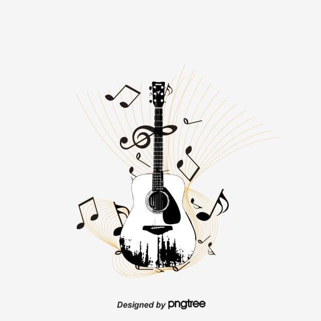 Vector Guitarra Y Notas Musicales, Guitarra, Nota