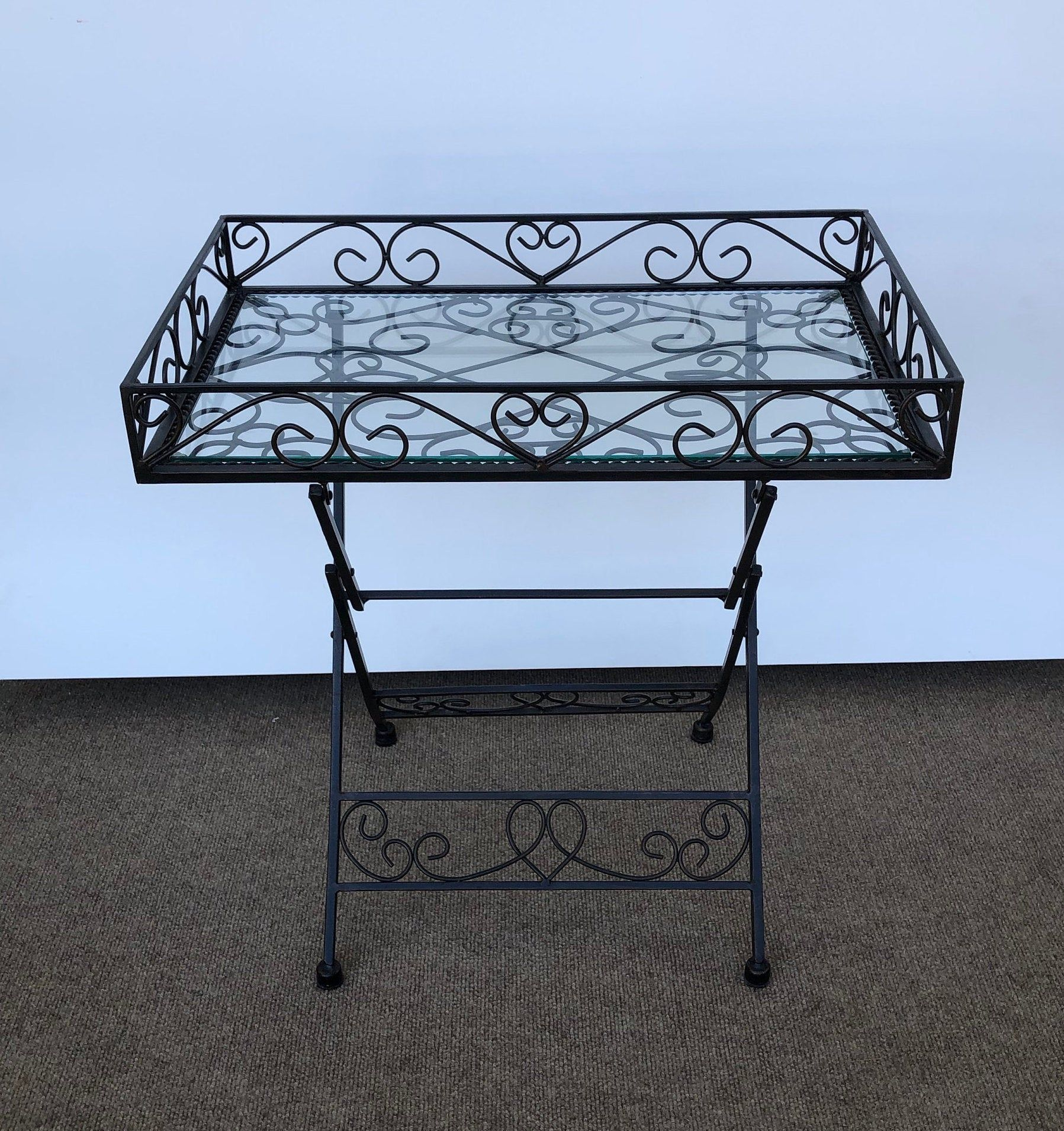 Wrought Iron Folding Metal Table Glass Top Patio End Table