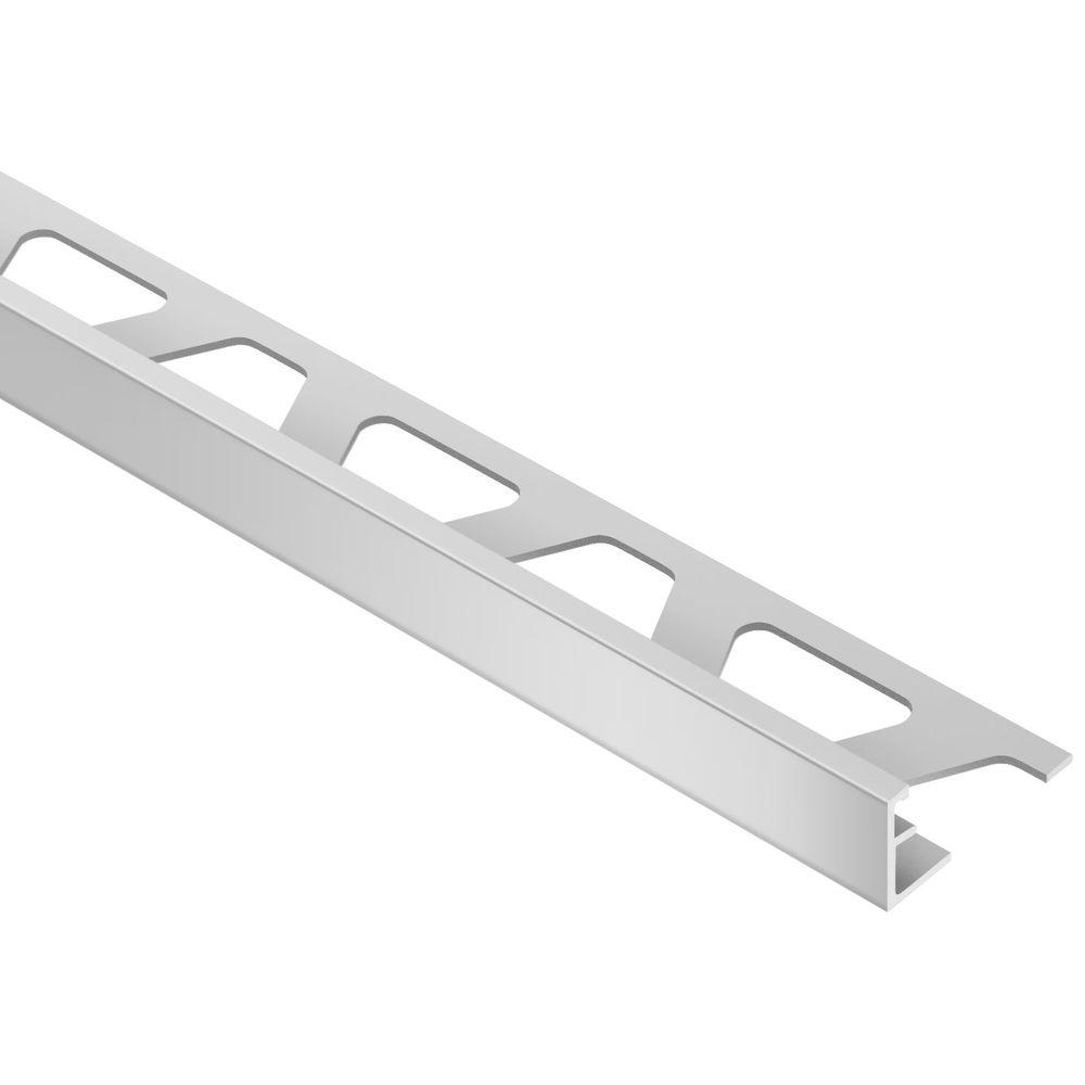 Schluter Schiene Satin Anodized Aluminum 1 2 In X 8 Ft 2 1 2 In Metal L Angle Tile Edging Trim Ae125 In 2020 Tile Edge Tiles Tile Installation