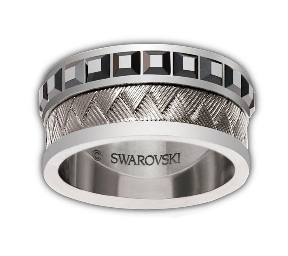 Swarovski Mens Stainless Steel, Black Jet& Hematite Reason Ring