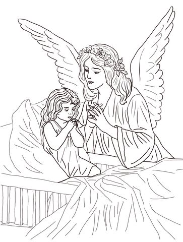 Oraciones al Ángel de la Guarda Dibujo para colorear | angeles ...
