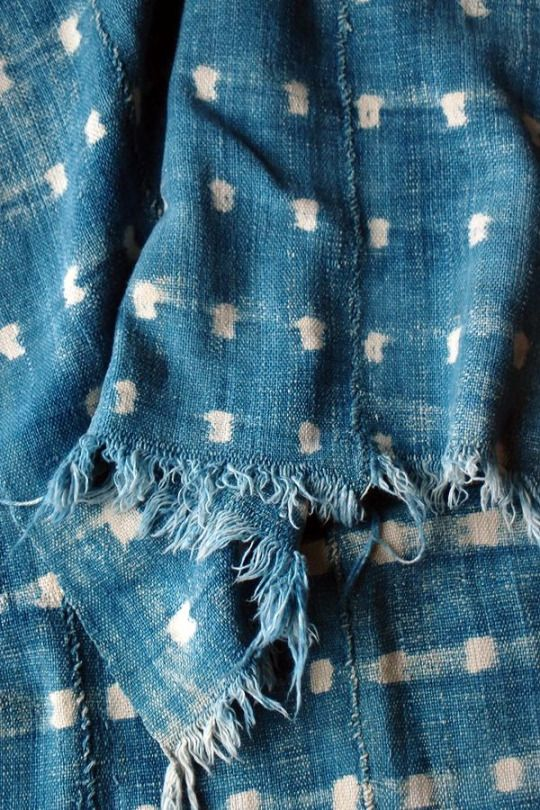 Indigo- printed and worn in.