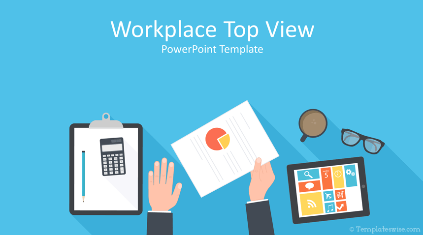 Free Powerpoint Template Featuring An Illustration Of A Businessman Workplace Top View In Flat Design Desain Seni Islamis