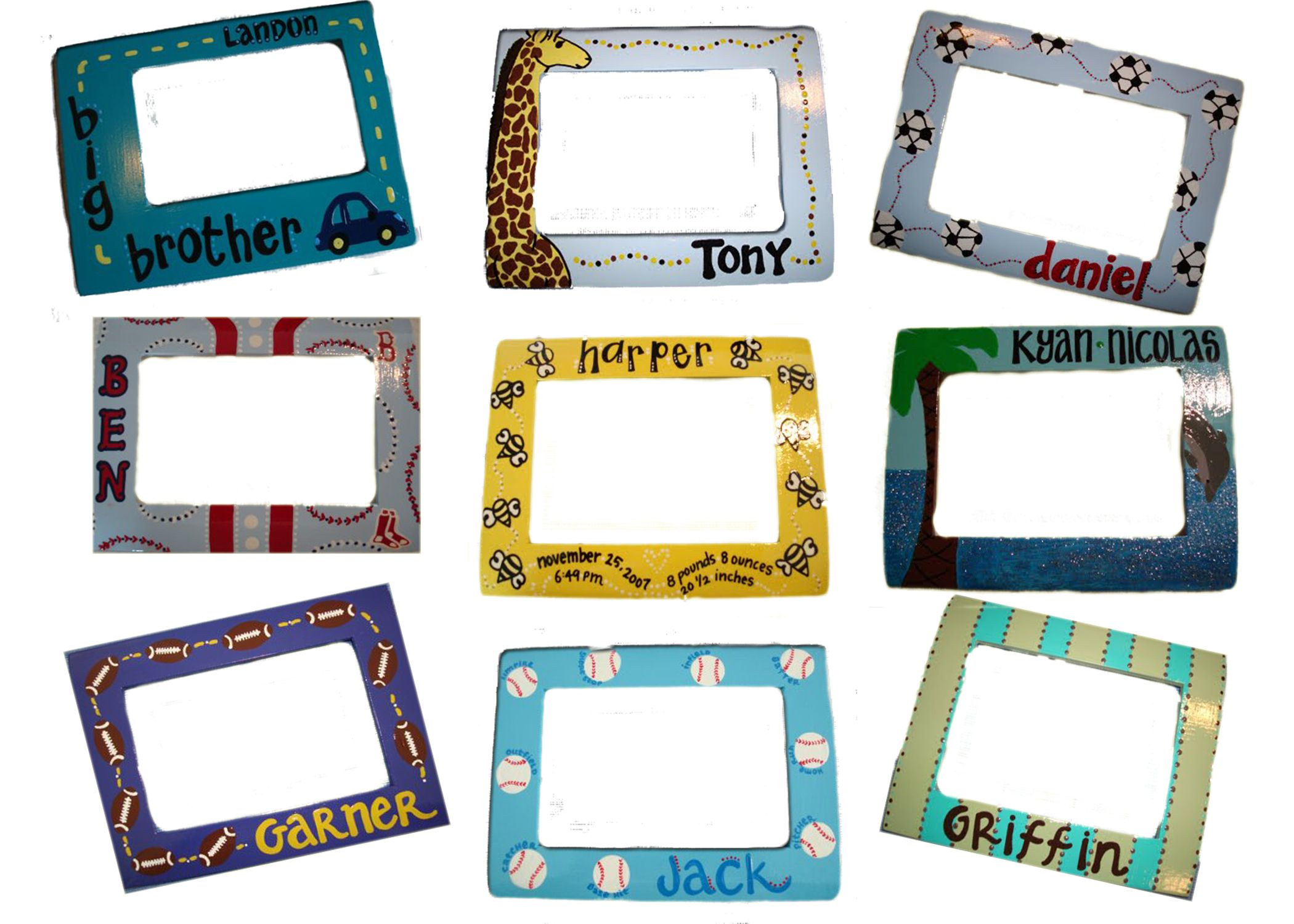 hand painted frames for boys