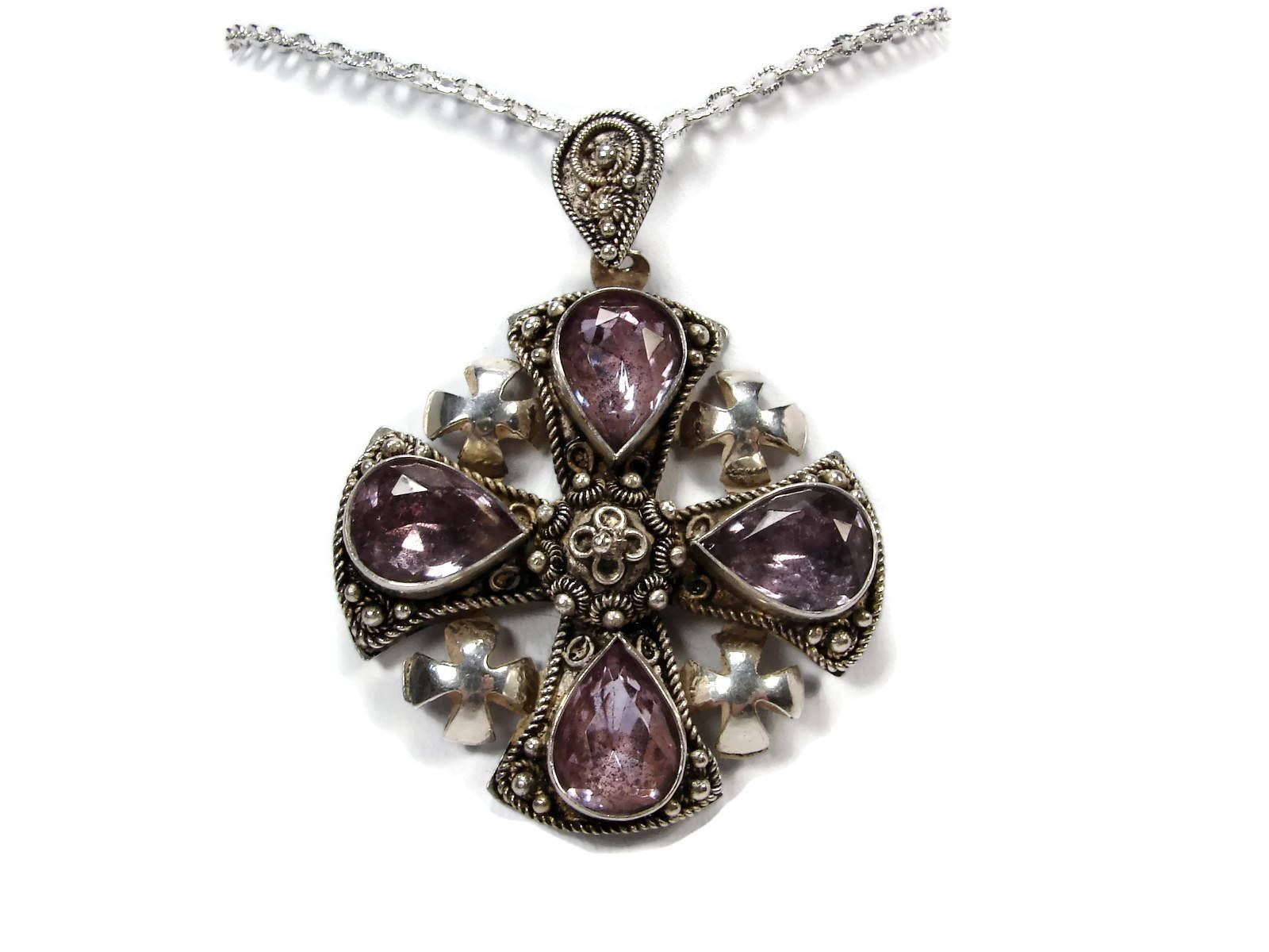 jewelry lane item pic accessories jerusalem in vintage four silver f pendant cross ruby made pin