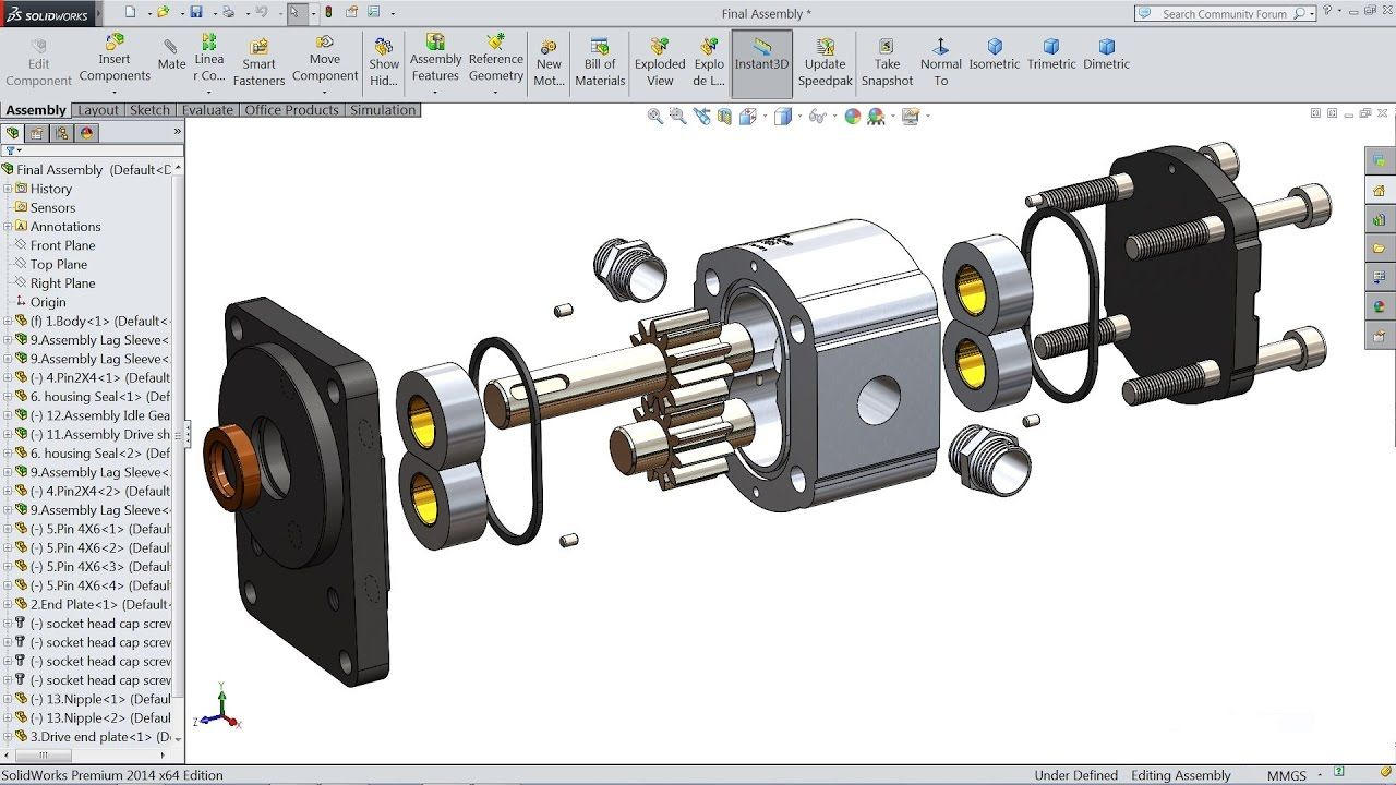 Solidworks Tutorial How To Make Hydraulic Pump In