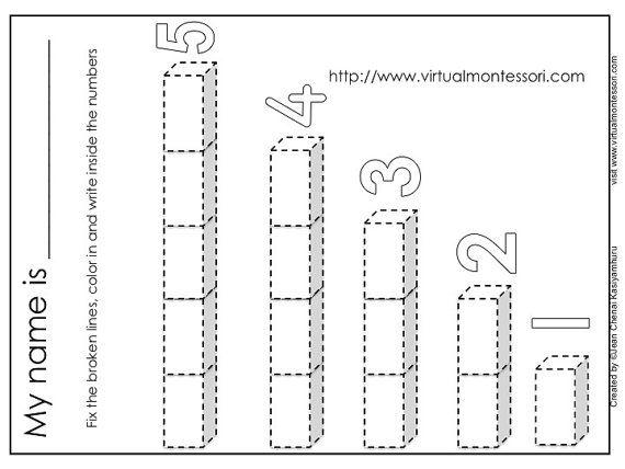 Number Rods Worksheets 1 - 5