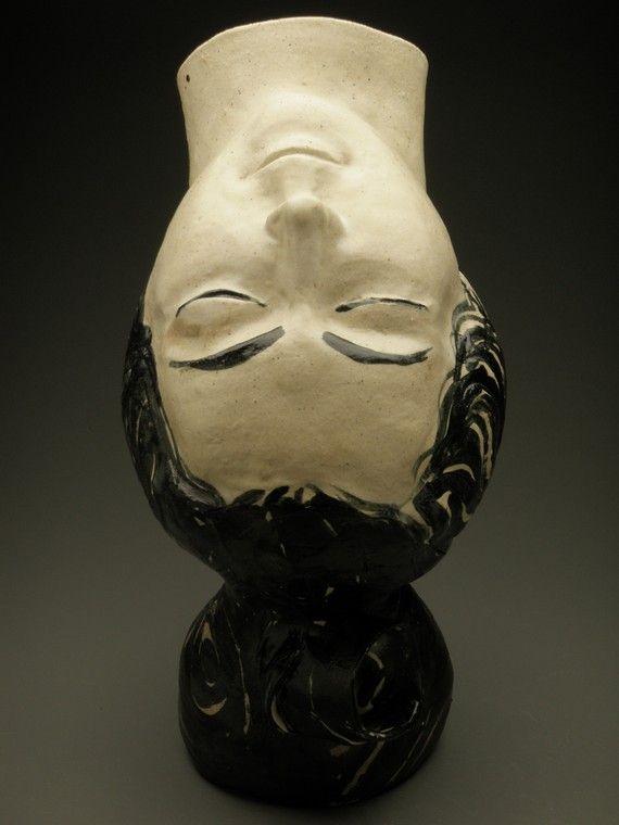 Inversion Ceramic Head Art Face Vase Sculpture Upside