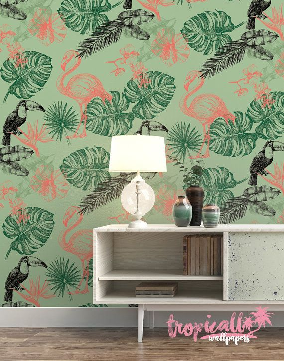 Flamingo Monstera Wallpaper Removable Wallpapers Fl Toucan Self Adhesive Wall Decal