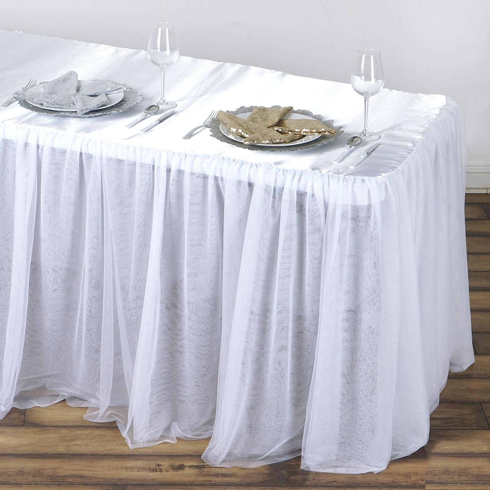 8ft White 3 Layer Tulle Tutu Satin Pleated Table Skirt Tulle Table Tulle Tablecloth Table Decorations