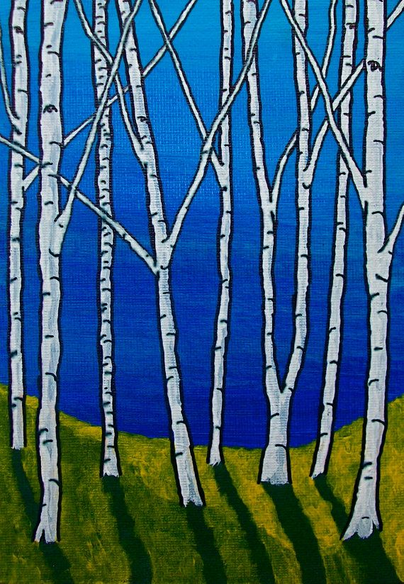 Blue and Green Birch Forest ORIGINAL ACRYLIC by MikeKrausArt