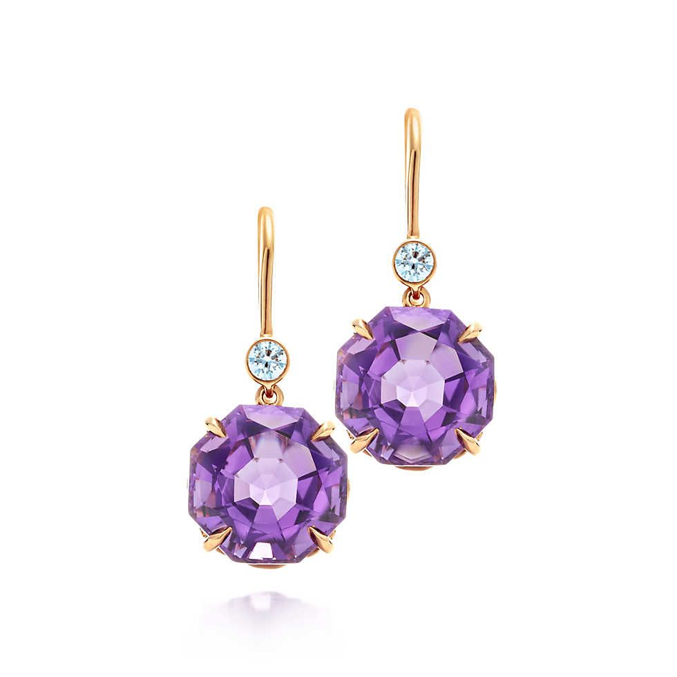 Tiffany Sparklers Drop Earrings In 18k Rose Gold With Amethysts And Diamonds