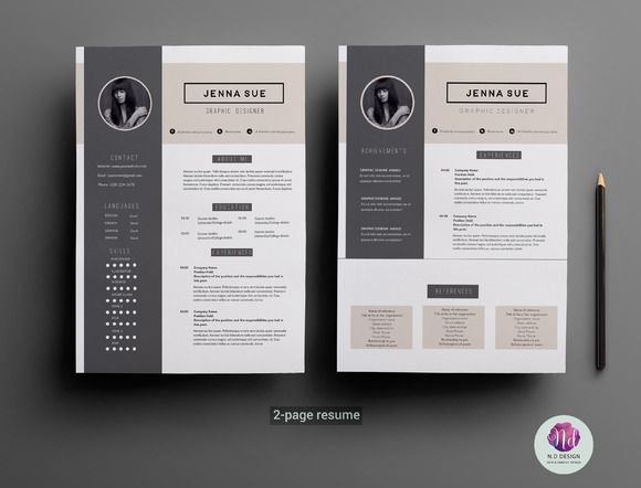 Modern 2 page resume template by Chic templates on Creative Market - 2 page resumes