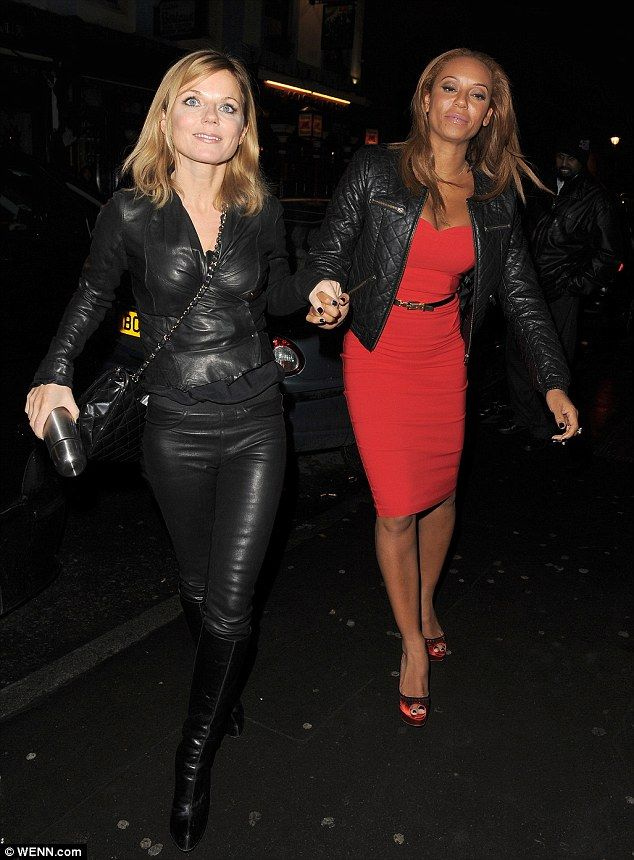b96200ab768 She's so rock and roll: Geri Halliwell wears an all leather outfit ...