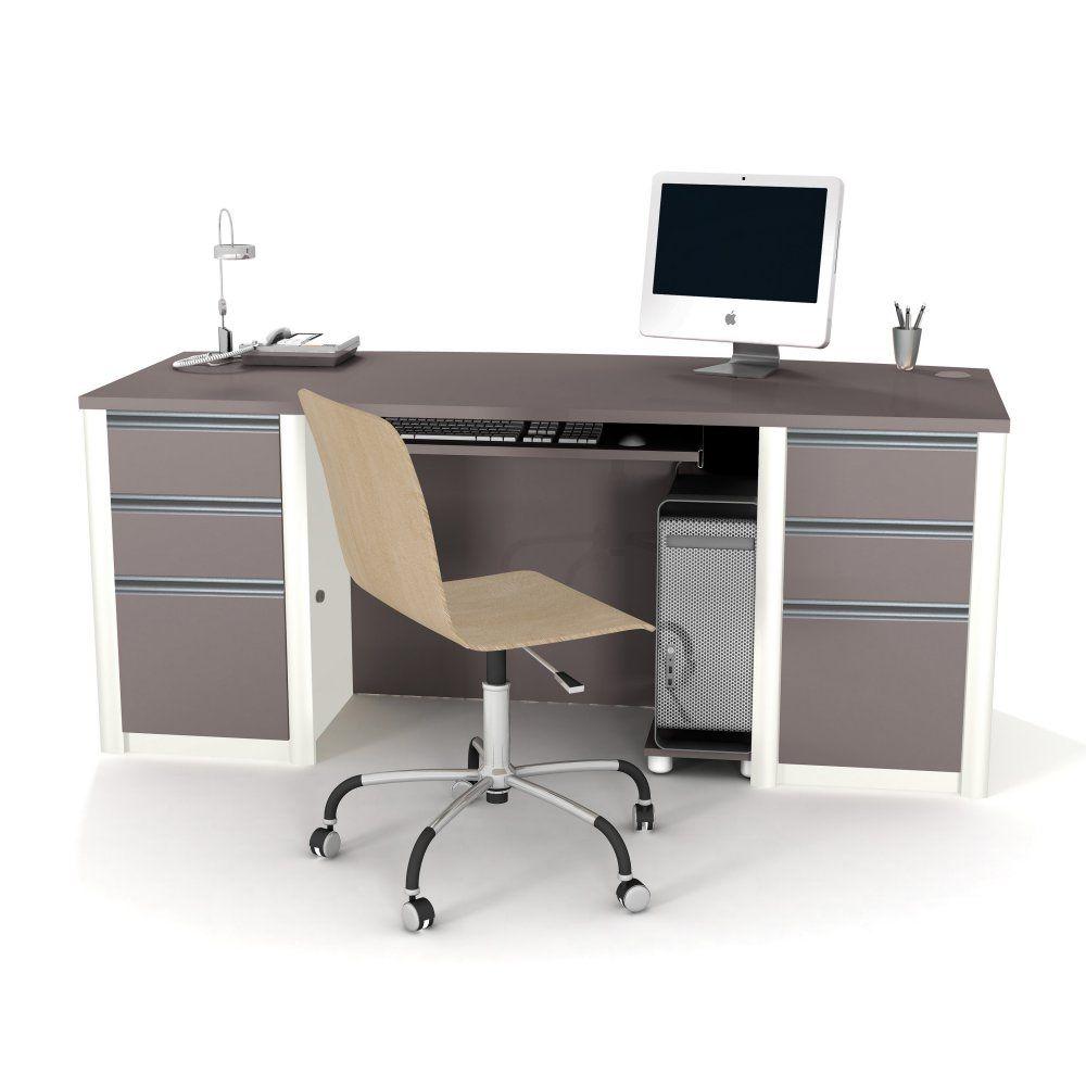 - Bestar Connexion 93850 Executive Desk – Slate/Sandstone Modern