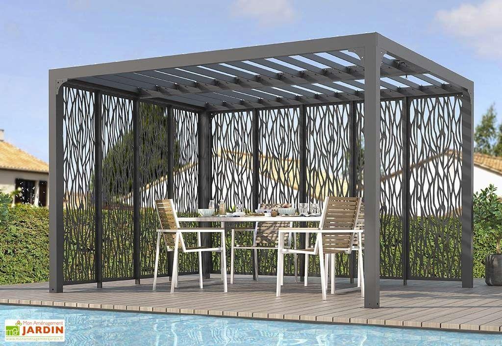 Pergola En Aluminium Avec Toiture Bioclimatique Et Brise Vues Lateraux Pergola Pergola Patio Pergola Lighting