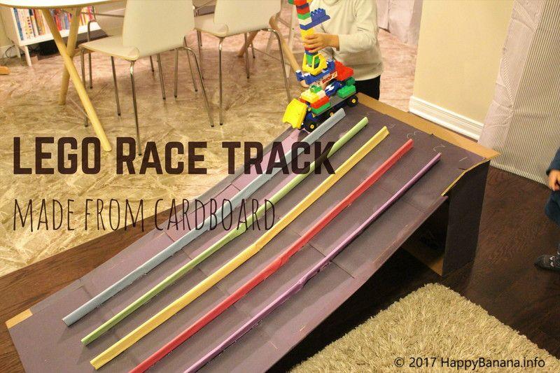 段ボールでレースコース作ったよ レゴの車やトミカを走せよう レゴ 子供 作品 収納 おもちゃ 車