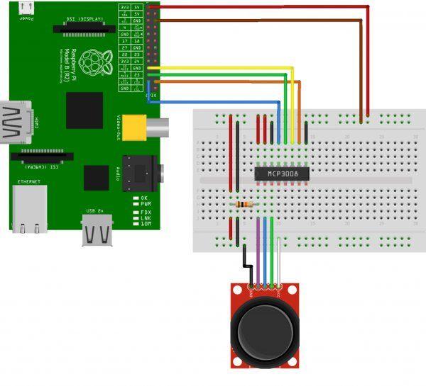 Using A Joystick On The Raspberry Pi Using An MCP3008
