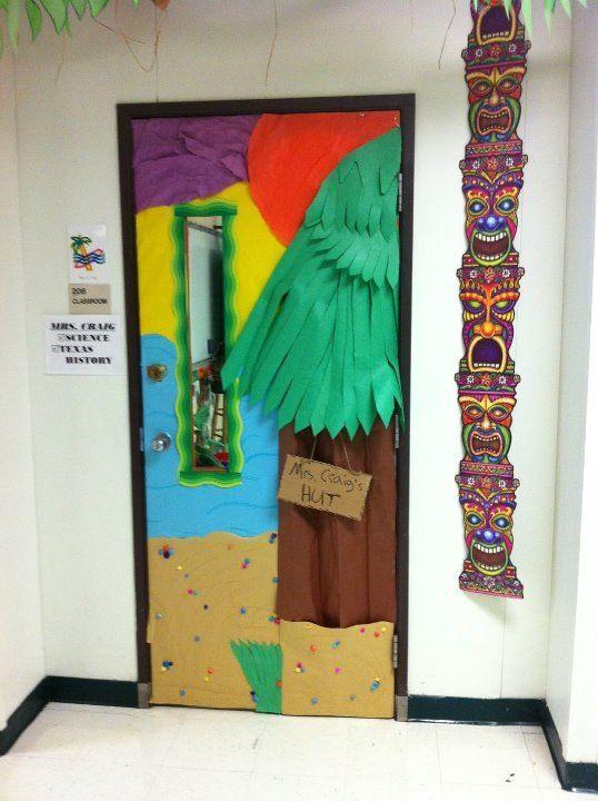 An hawaiian village hut door classroom theme classroom for Beach hut decoration ideas