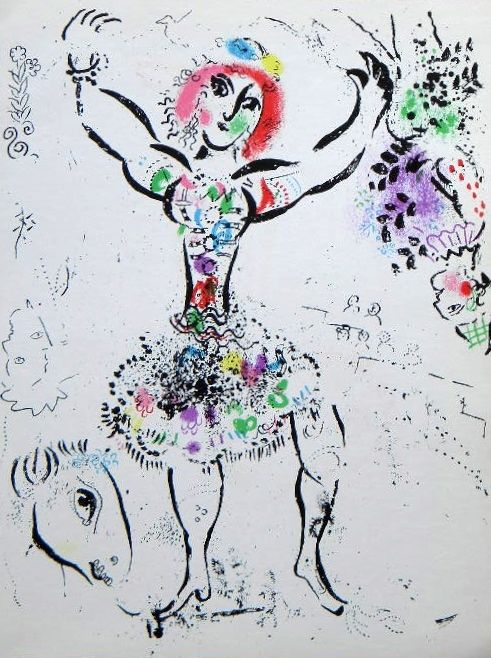 "marc chagall lithographs | Marc Chagall original lithograph ""La Jongleuse"" #art #artists #chagall"