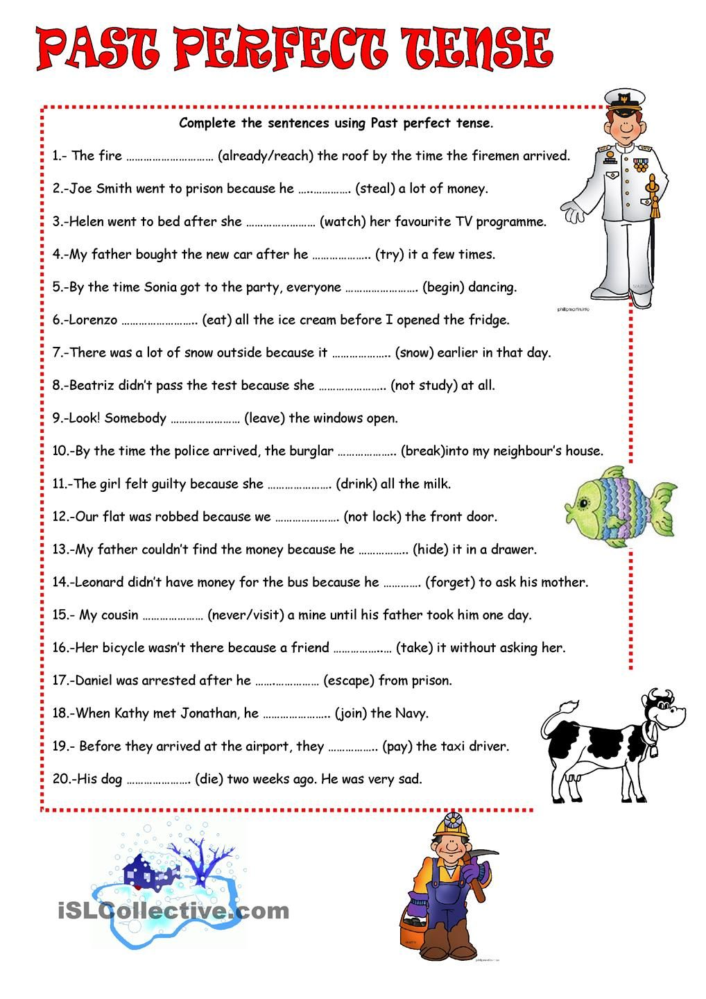 Workbooks spanish present tense practice worksheets : PAST PERFECT TENSE Repinned by Chesapeake College Adult Ed. We ...