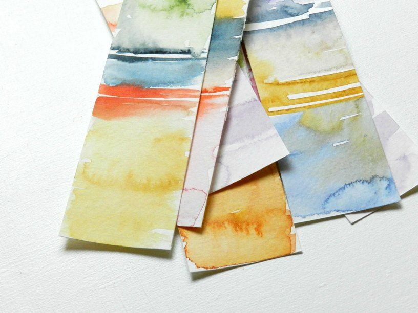 Color Block Watercolor Bookmarks With Images Watercolor