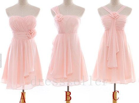 $78.00 on ETSY! Short Light Pink Chiffon Bridesmaid Dress Simple ...