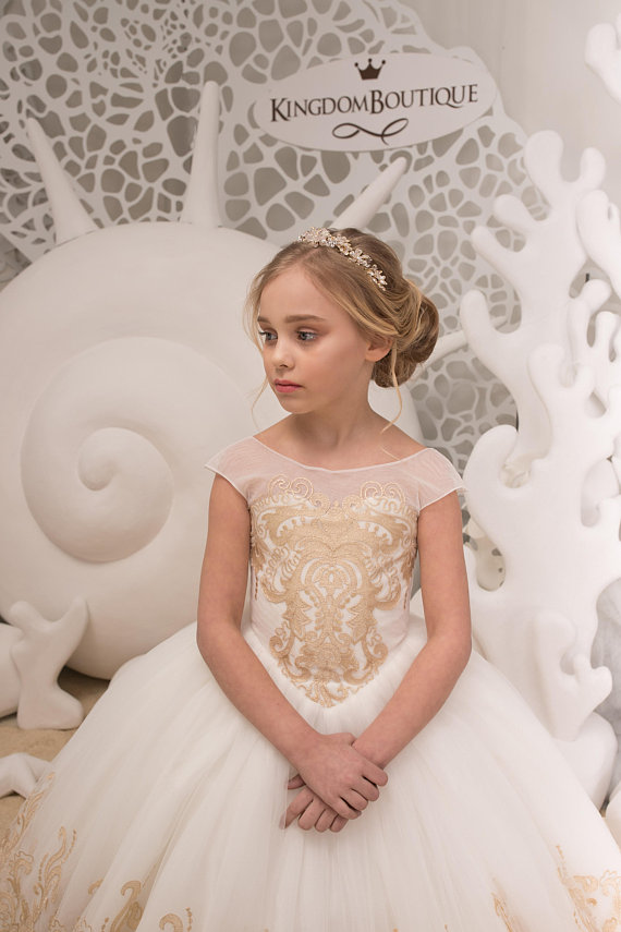 7d17113044 Ivory and Gold Flower Girl Dress - Birthday Wedding party Bridesmaid  Holiday Ivory and Gold Lace Flo