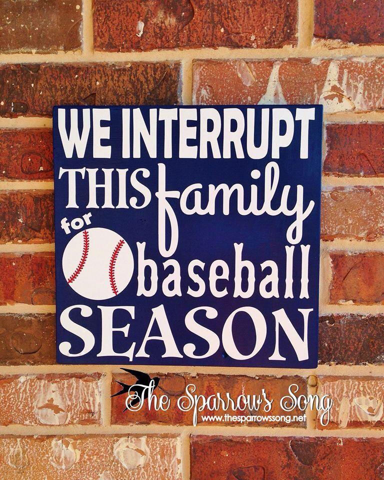 We Interrupt this Family for Baseball Season Burlap Print