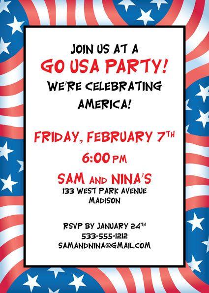 patriotic flag party invitation olympics theme party pinterest