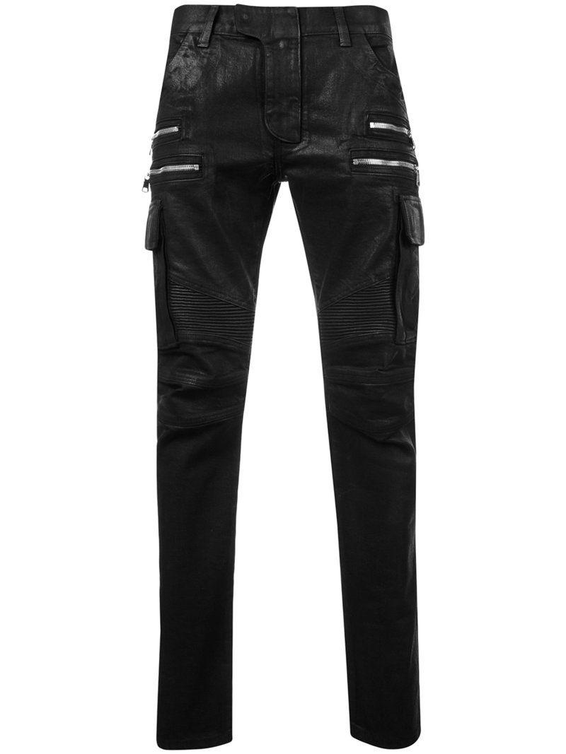 42831930 BALMAIN WAXED BIKER JEANS. #balmain #cloth #   Balmain   Biker jeans ...