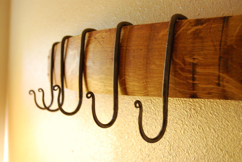 Make using pot rack hooks OR shower hooks! French Oak Wine Stave ...