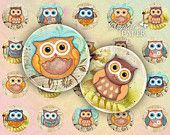 Owl - circles image - digital collage sheet - 1 x 1 inch - Printable Download