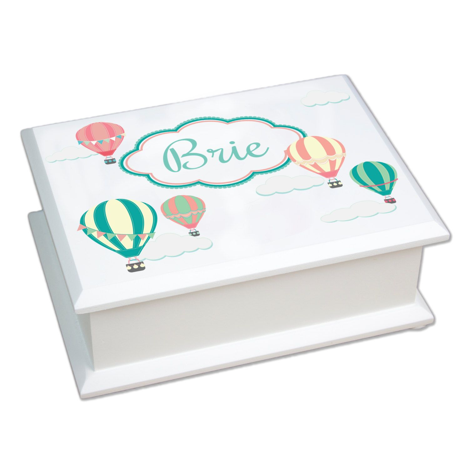 Personalized Jewelry Box Features Hot Air Balloons in soft corals