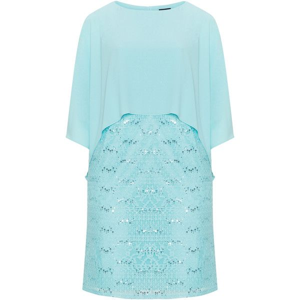 Hermann Lange Turquoise Plus Size 2-in-1 effect cape lace dress ...