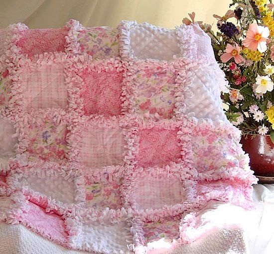 """so SWEET!! The Ultimate Baby Girl rag Quilt, w 1"""" seams, chenille + 3 layers of flannel"""