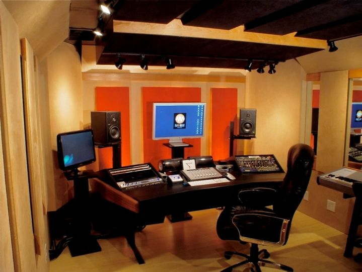 Recording Studio Design Ideas inspiring home recording studio design awesome home recording studio design idea with hanging tvs and small music room equipment dropddesignco Modern Black Wood Studio Desk Design With Curved Shaped Long Desk For Interior Furniture Ideas