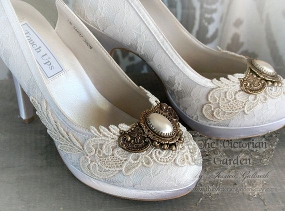ANGEL Lace Bridal Shoes Romantic Victorian Vintage Inspired Ivory Pearl And Wedding