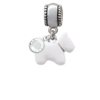 ee7a56d76 White Westie Dog European Charm Bead Hanger with Clear Crystal Crystal